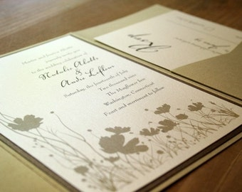 Poppies Wedding Invitation Pocketfold - Deposit to get started