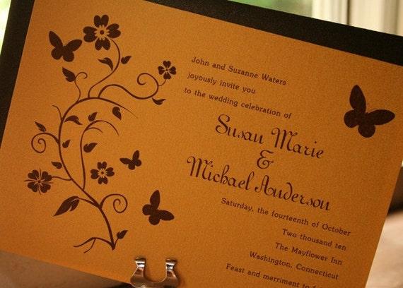Floral Vine Butterfly Wedding Invitation - Deposit to get started