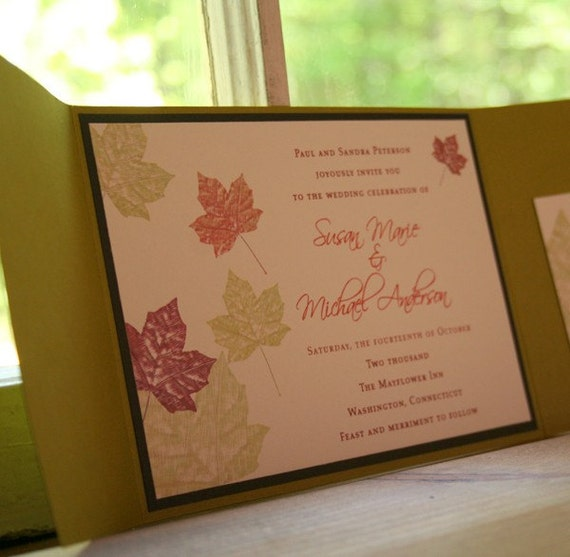 Wedding Invitation Maple Autumn Leaves Pocketfold  - Deposit to get started