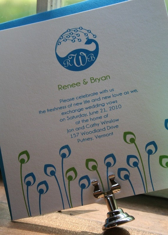 Wedding Invitation Peacock Monogram  - Deposit to get started