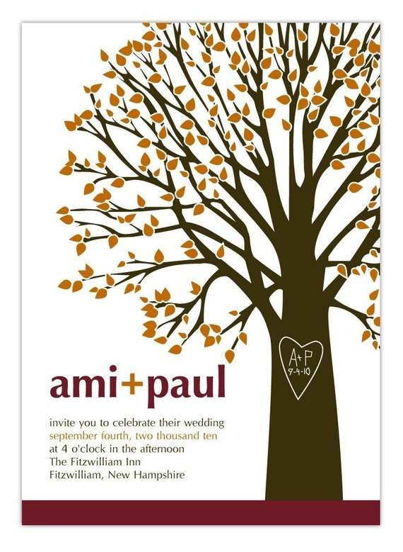 Wedding Invitation Initials and Heart Tree  - Deposit to get started