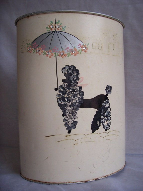 Vintage 1950s Ransburg Poodle Metal Tissue Holder And Trash