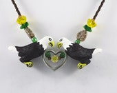 Eagles Necklace Beaded Yellow Flowers, Leaves, Heart.
