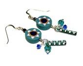 Jewish Earrings Star of David Polymer Clay Handmade Art Jewelry Sapphire Swarovski Crystals Jewish Jewelry Bat Mitzvah Gift Judaica