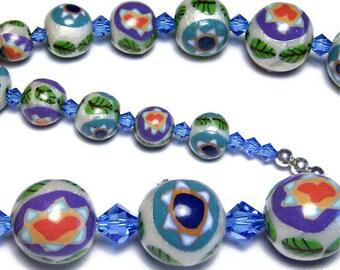 Jewish Beaded Necklace Earring Set Hanukkah Jewish Gift Birthday Anniversary Handmade Polymer Clay Beads Star of David Swarovski Crystal
