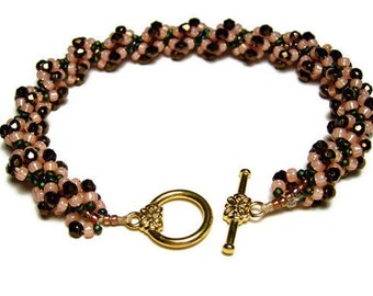 "Beadwork Bracelet Beadweaving Handmade Seed Beads Czech Glass Beads Spiral Pattern Jewelry Peach Bronze 8 3/4"" 22 CM"