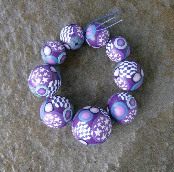 Handmade Beads Polymer Clay Set of Nine Round Graduated Canework Purple Jewelry