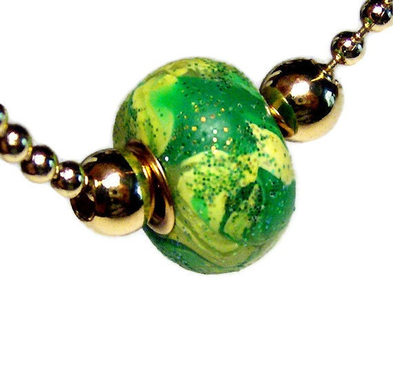 Handmade Large Hole Bead Necklace European Style Bead Jewelry Polymer Clay Brass Ball Chain Gold Grommets Green Swirl Microglitter