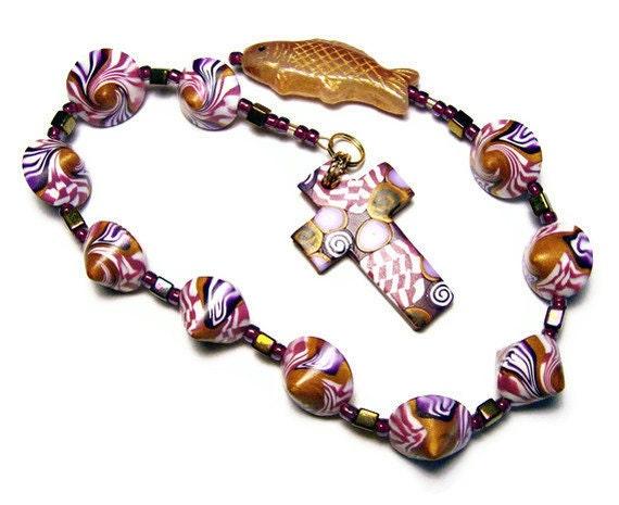 Catholic One Decade Unisex Rosary Chaplet Handmade Polymer Clay Prayer Beads Everything Else Religious