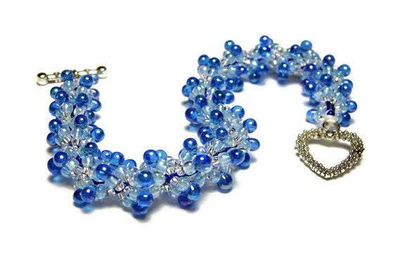 "Beadwork Bracelet Beadweaving Handmade Seed Beads Drop Beads Spiral Pattern Jewelry Heart Clasp Blue 7 5/8"" 19 CM"