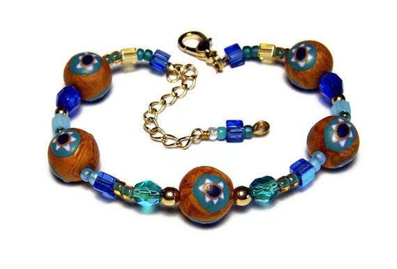 Star of David Polymer Clay handmade Beads Canework Beaded Bracelet Jewelry Bat Mitzvah Gift Judaica Adjustable Blue Gold