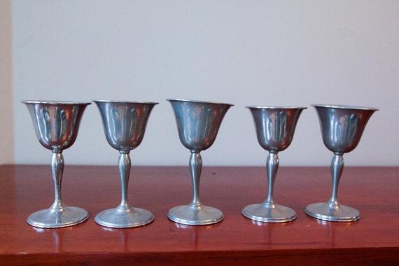 Set of 5 Vintage Pewter Wine Glasses