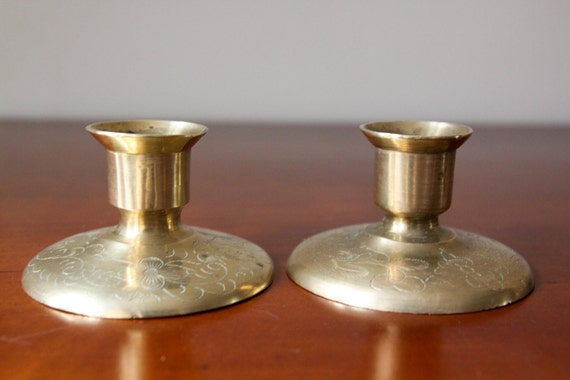 Set of Vintage Low Brass Candleholders