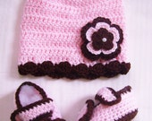 Baby Girl Pink and Brown Crochet Hat and Booties, photo prop, infant, hairbow, hair accessories 10054 MADE TO ORDER