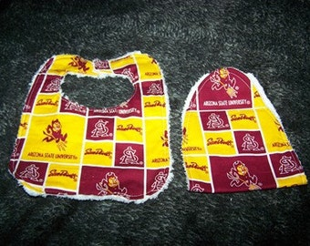 ASU Sun devils Football Team Boy-Girl  Bib Burp Cloth Set on chenille & Teri