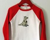 Hand Screenprinted Child's short/long sleeved T-Shirt KANGAROO Size 1 and 2