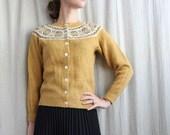 1960s Honey Wool Knit Cardigan