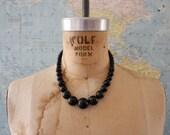 1960s Vintage Black Pearl Necklace Choker