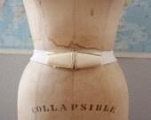 1980s Cinch Belt // Vintage Belt in White and Brass Metal