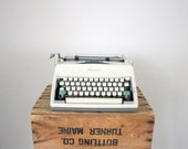 Vintage Typewriter by Olympia // Mid Century White Typewriter Manual