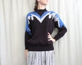 SALE 1980s Vintage Sweater in Blue Black and Silver Lightning Bolts . Ziggy Stardust
