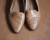 Vintage Woven Brown Leather Basket Flats