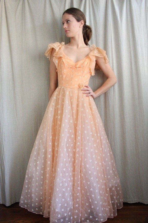 Holiday Sale . 1950s Orange Dream Belle of the Ballgown