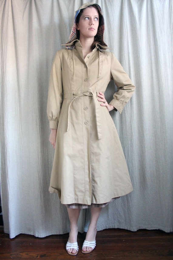Mid Century Khaki Hooded Trench Coat