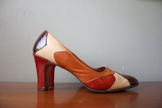 Vintage Boho Brown Leather Pumps