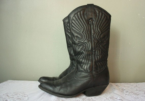 1980s Vintage RAVEN Leather Cowgirl Boots