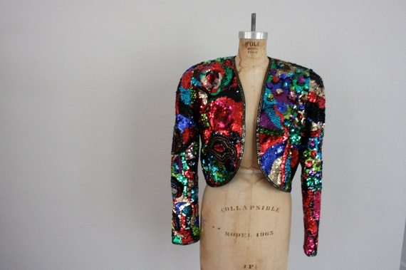 1980s Cropped Jacket in Multi-Colored Sequins  . Black Fashion Shrug