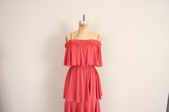 1970s Party Dress // Vintage Rasperry Red Tiered Skirt Sleeveless Dress