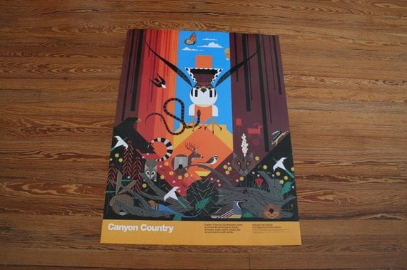 Vintage Charley Harper Poster // Canyon Country // Extra Large Charles Harper Poster // National Park Wall Art