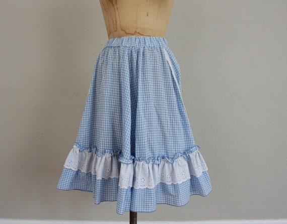 Vintage 1970s Square Dance Skirt in Gingham Blue and White Checks . Dorothy Inspired