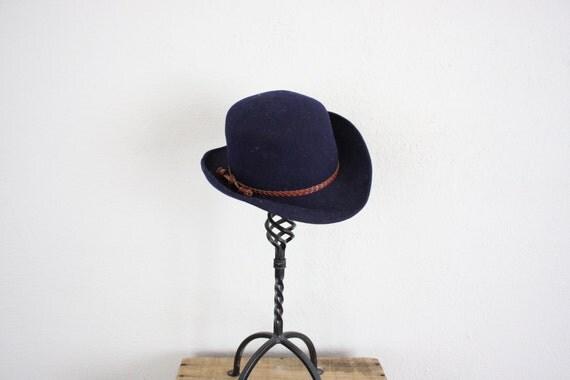 1960s Mod Cowboy Hat // Vintage Wool Hat in Navy Blue