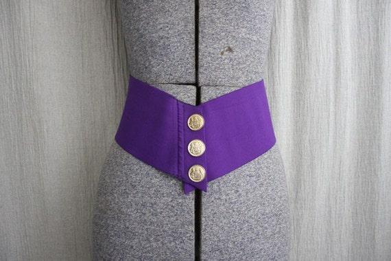 1980s Vintage Oversized Belt in Retro Plum Purple