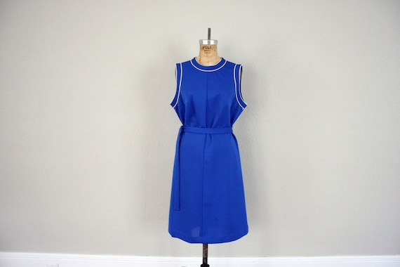 Vintage Scooter Dress // 1960s Mid Century Blue Day Dress