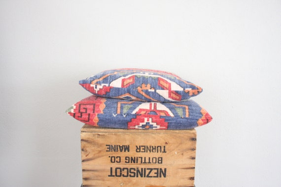 Reserved . Vintage Kilim Pillows // Red and Blue Turkish Pillow // Handmade Vintage Pillows