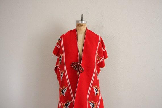 1970s Vintage Poncho in Red . Southwestern Desert Cloak