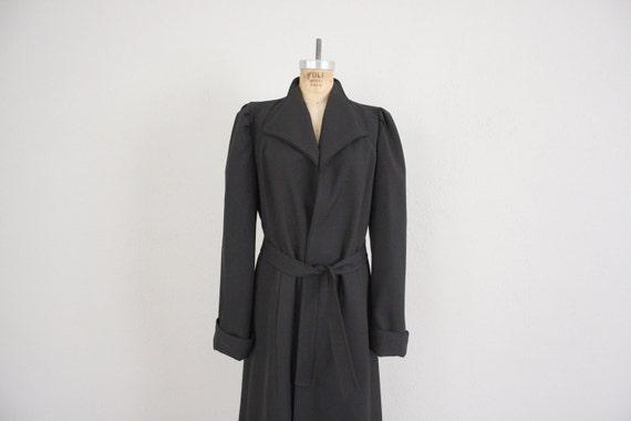 Mod Black Coat // Vintage Black Long Jacket // 1960s Mid Century Trench Coat