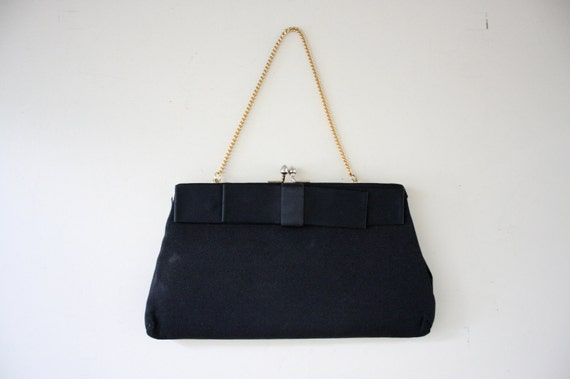 1960s Clutch Purse in Black with Ribbon Bow Tie . Tiny Formal Handbag