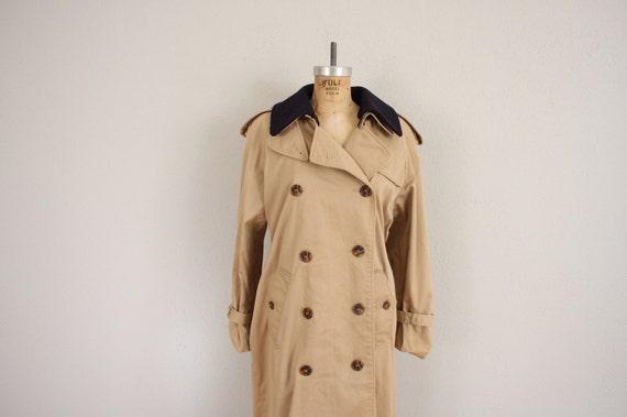1960s Trench Coat // Vintage Khaki Double Breasted Trenchcoat Jacket