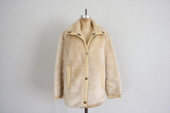 Faux Fur Coat // Vintage Black Fur Coat // 1960s Retro Faux Fur Jacket by Glenoit