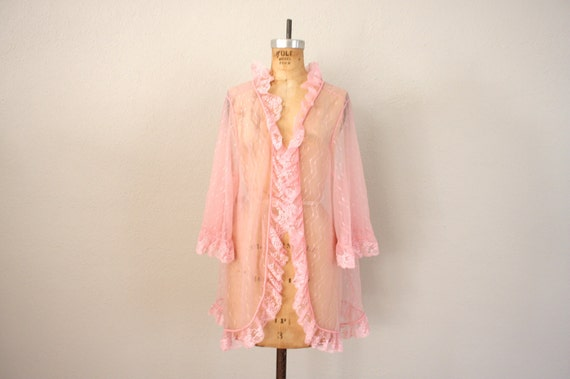 Vintage Pale Pink Sheer Lace Cardigan . 1980s Pink Lace Nightie Wrap