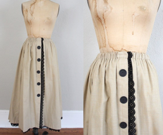 Vintage Khaki Skirt // 1970s Country Skirt in Tan and Black Lace