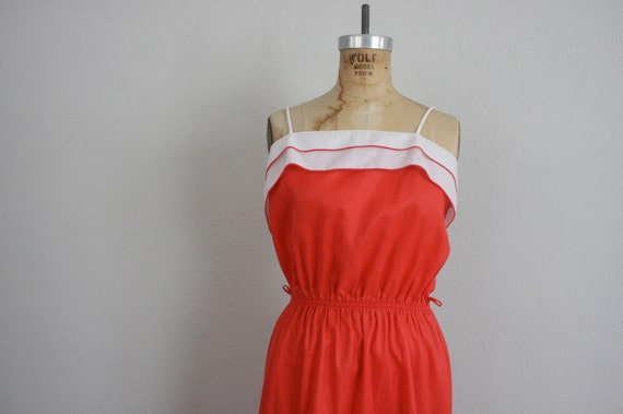 Vintage 1960s Sundress in White and Melon Red Cotton