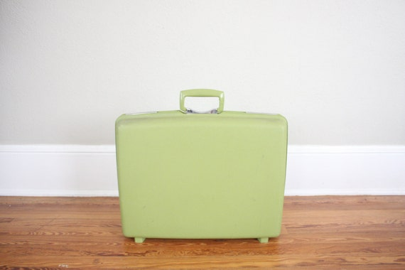 Vintage Avocado Suitcase // 1980s Royal Traveler Luggage // Retro Mod Suitcase in Green and Chrome