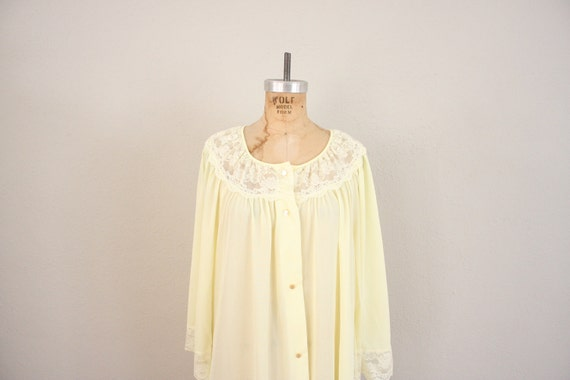 1960s Nightgown in Yellow // Vintage Mid Century Yellow Nightie Lingerie