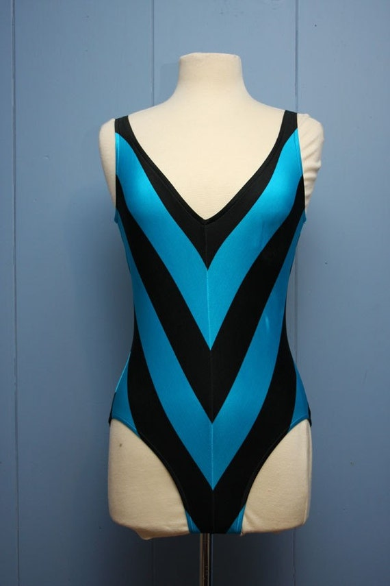 Vintage Chevron Striped Bathing Suit By Advintagous On Etsy