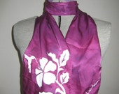 Hand Dyed Silk Scarf with Screen Print C308